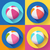 set of beach ball icons modern flat style with a long shadow stock photo © marysan
