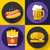 set of fast food menu and beer icons flat design style stock photo © marysan