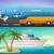 vetor · viajar · banners · conjunto · ônibus · tour - foto stock © marysan
