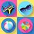 women beach icon set swimsuit ball sunglasses umbrella flat design style stock photo © marysan