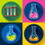 set of chemical lab flasks icons flat design style stock photo © marysan