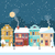 snowy christmas night in the cozy town greeting card stock photo © marysan