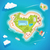 Heart island top aerial view - travel tourism vector illustration stock photo © MarySan