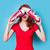 güzel · genç · kadın · siyah · gözlük · şaşırmış · kadın - stok fotoğraf © massonforstock
