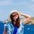 mulher · jovem · barco · sessão · outono · dia · céu - foto stock © massonforstock