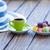 beker · koffie · macarons · hoed · oude · houten · tafel - stockfoto © Massonforstock