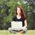 kız · indie · stil · elbise · dizüstü · bilgisayar · genç · kız - stok fotoğraf © massonforstock