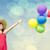 esmer · kız · renk · balonlar · fotoğraf · bokeh - stok fotoğraf © Massonforstock