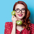 nina · vestido · rojo · verde · marcar · teléfono · sonriendo - foto stock © Massonforstock