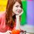gülen · güzel · genç · kadın · yeme · beyaz - stok fotoğraf © massonforstock