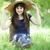 fiatal · divat · lány · fehér · kalap · zöld - stock fotó © massonforstock