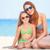 美しい · 母親 · 娘 · 熱帯ビーチ · 水 - ストックフォト © Massonforstock