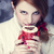 Redhead girl with red coffee cup. St. Valentine Day stock photo © Massonforstock