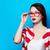 девушки · улыбаясь · макияж · очки · белый · лице - Сток-фото © massonforstock