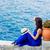 Frau · Sitzung · Steine · schönen · Brünette · tragen - stock foto © massonforstock