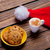 photo of plate full of cookies santa claus hat and cup of coffe stock photo © massonforstock