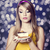 style teen girl with cake photo with bokeh at background stock photo © massonforstock