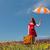meisje · paraplu · koffer · winderig · gras - stockfoto © massonforstock