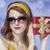 amerikaanse · meisje · zonnebril · geschenk · foto - stockfoto © massonforstock