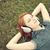 mujeres · mentir · abajo · hierba · nina · sonrisa - foto stock © massonforstock