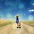 одиноко · девушки · чемодан · молодые · красивая · девушка · стране - Сток-фото © massonforstock