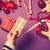 női · kezek · csomagolás · ajándék · karácsony · ibolya - stock fotó © Massonforstock