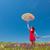 lány · vörös · ruha · esernyő · legelő · portré · gyönyörű - stock fotó © Massonforstock
