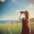 mulher · farol · bela · mulher · turista · férias · histórico - foto stock © massonforstock