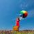 lány · vörös · ruha · esernyő · bőrönd · portré · gyönyörű - stock fotó © massonforstock