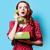 nina · vestido · rojo · verde · marcar · teléfono · sorprendido - foto stock © Massonforstock