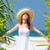 vrouw · witte · jurk · ontspannen · strand · warm · partij - stockfoto © massonforstock