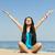 красивая · девушка · пляж · женщины · счастливым · красоту · синий - Сток-фото © Massonforstock