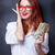 businesswomen in white shirt with money stock photo © Massonforstock