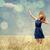 赤毛 · 少女 · 春 · 麦畑 · レトロな · カメラ - ストックフォト © massonforstock