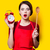 housewife with red alarm clock and spoon  stock photo © Massonforstock