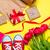 piros · tulipánok · virágcsokor · papírzacskó · fa · asztal · copy · space - stock fotó © massonforstock