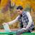foto · homem · bonito · sessão · banco · laptop · maravilhoso - foto stock © massonforstock