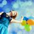 nina · color · globos · cielo · azul · fiesta - foto stock © massonforstock