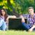 young teen couple with blackboard stock photo © massonforstock