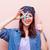 portret · jonge · vrouw · zeester · mooie · permanente · roze - stockfoto © massonforstock