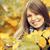 gyönyörű · lány · ősz · park · kéz · divat · természet - stock fotó © Massonforstock