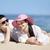 belo · casal · praia · menina · feliz · mar - foto stock © Massonforstock