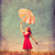 girl in red dress with umbrella on meadow stock photo © massonforstock