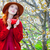 belo · mulher · jovem · copo · café · maravilhoso · árvores - foto stock © massonforstock