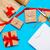 presenteert · Rood · witte · inpakpapier · christmas · sterren - stockfoto © massonforstock