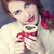 redhead girl with red coffee cup at st valentines day stock photo © massonforstock