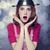 háziasszony · piros · merőkanál · kép · gyönyörű · nő - stock fotó © massonforstock