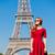 güzel · genç · kadın · Eyfel · Kulesi · Paris · Fransa · güzellik - stok fotoğraf © Massonforstock