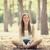 smiling happy girl in autumn park stock photo © massonforstock