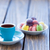beker · koffie · macarons · oude · houten · tafel · voorjaar - stockfoto © Massonforstock
